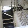 Escalera acero inox peldaños de madera de haya tintados