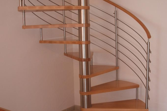 Escaleras caracol acero inox y madera servitja for Escaleras metalicas homecenter