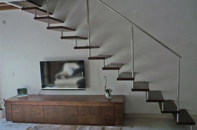 Pelda os madera 45mm y baranda acero inox servitja - Peldanos de madera para escalera precios ...